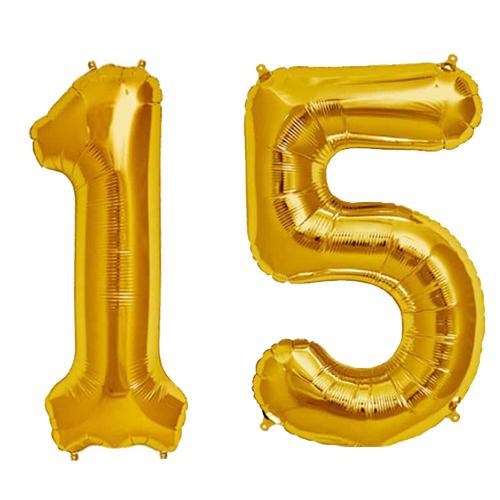 Cijfer 15 Goud Helium 86 cm - De Ballonnenkoning